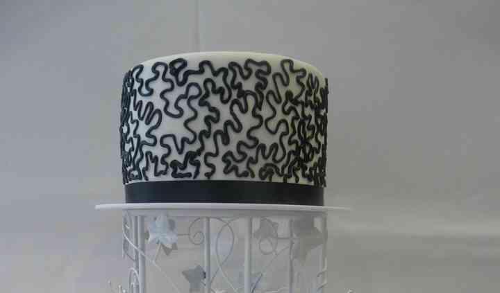 Tarta de boda blanco y negro