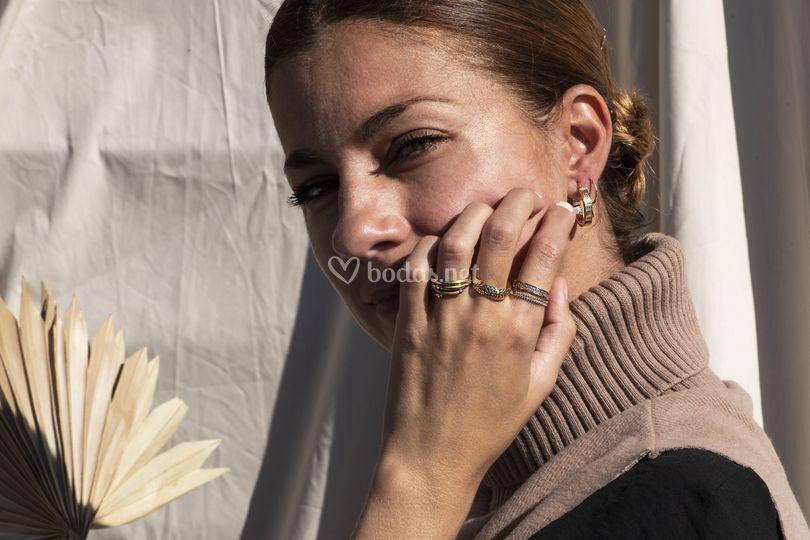 Combinación de pendiente y anillos