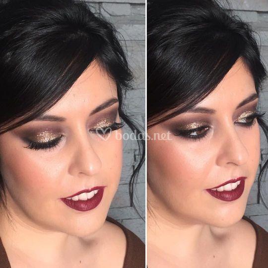 Maquillaje de fiesta con glitt