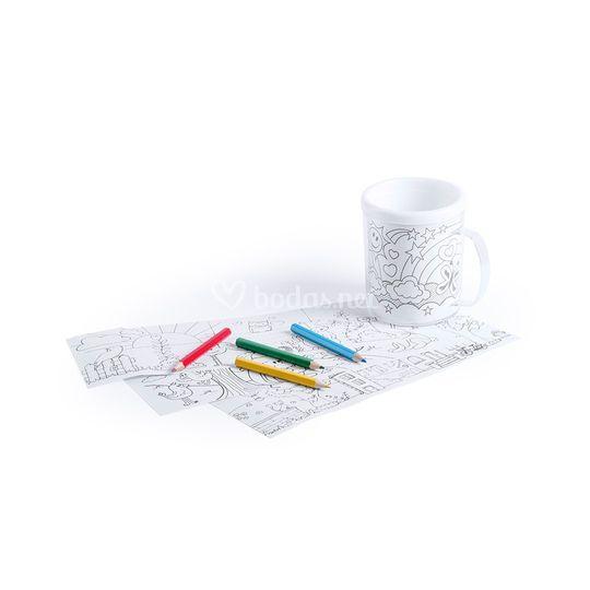 Taza para colorear con láminas