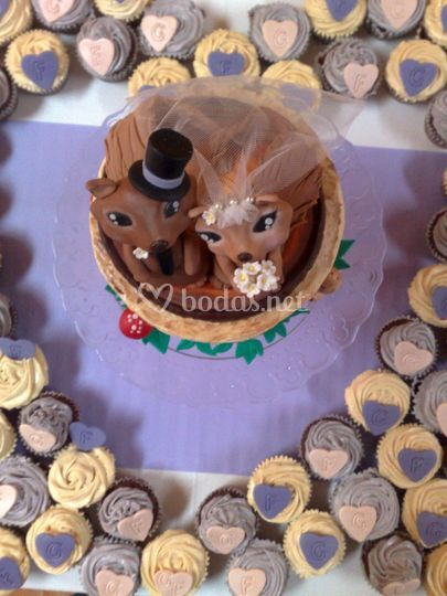 Vista superior tarta de boda