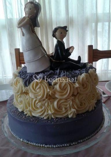 Tarta de boda acabado en crema
