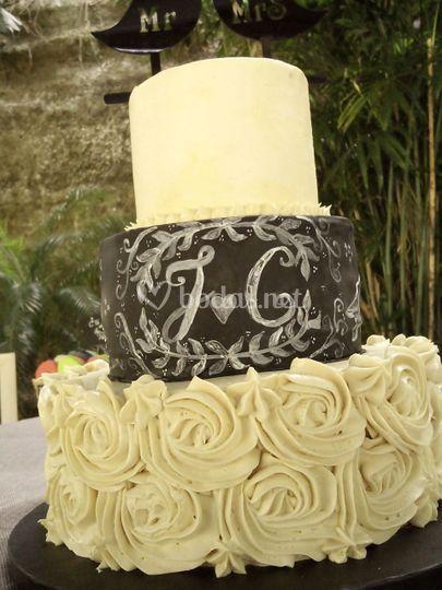Tarta de boda combinada