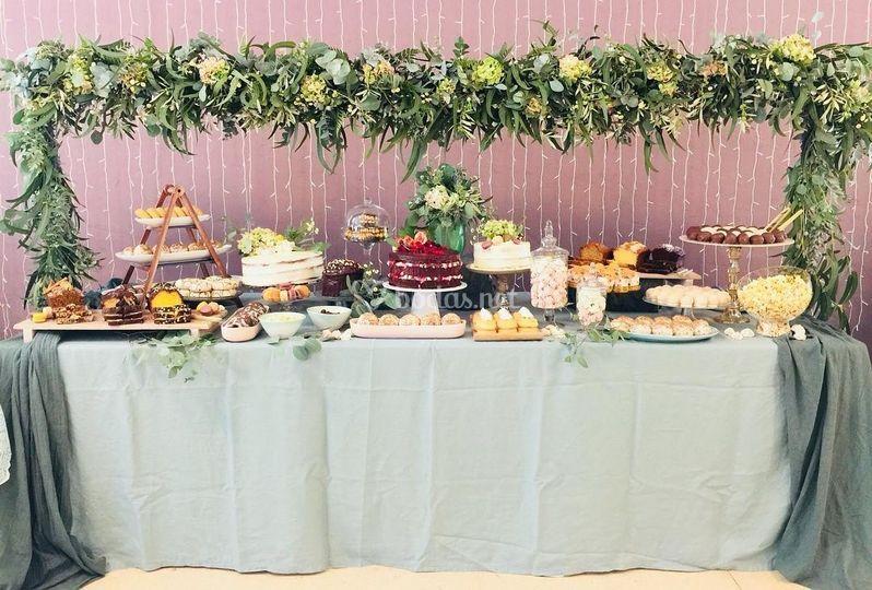 Decoración de mesa dulce