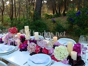 Mesa imperial en tonos rosas