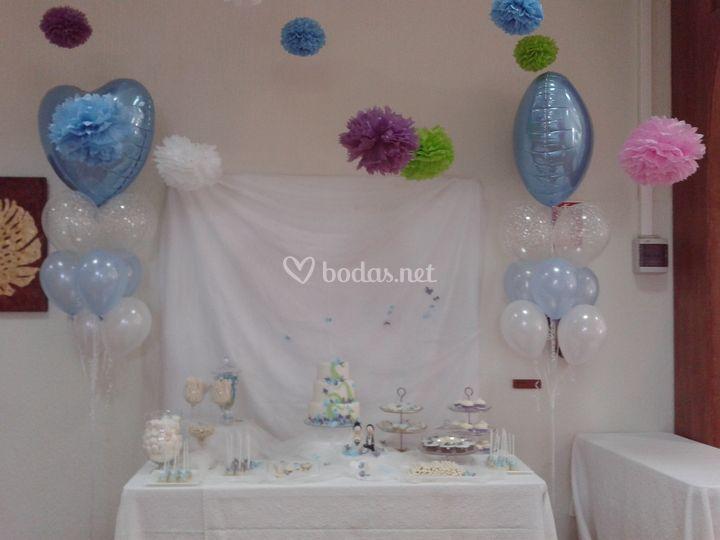 Decoración mesa tarta