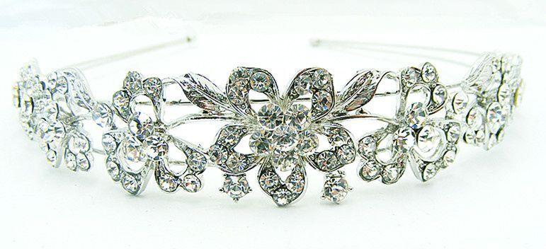 Tiara plata - cristal