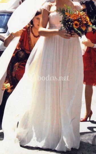 Vestido de novia con corte griego
