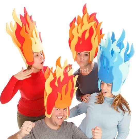 Pelucas llamas de fuego