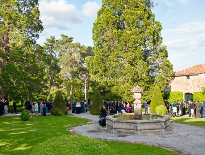 Jardín con fuente