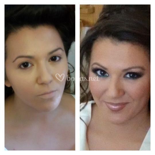 Antes y despues de maquillar