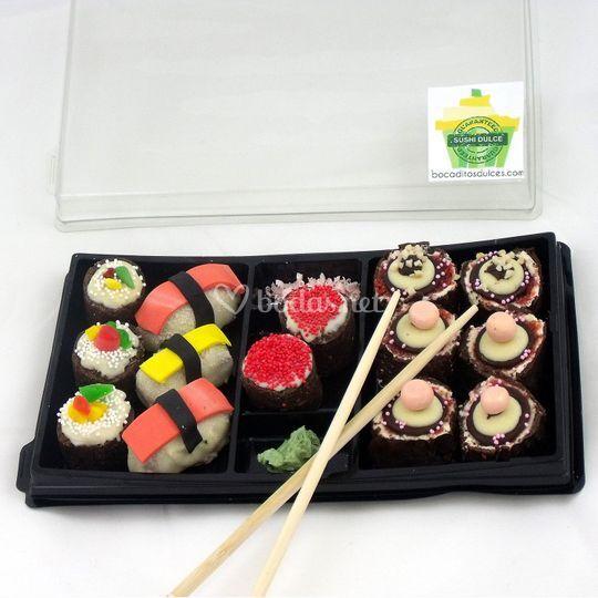 Bandeja de sushi dulce