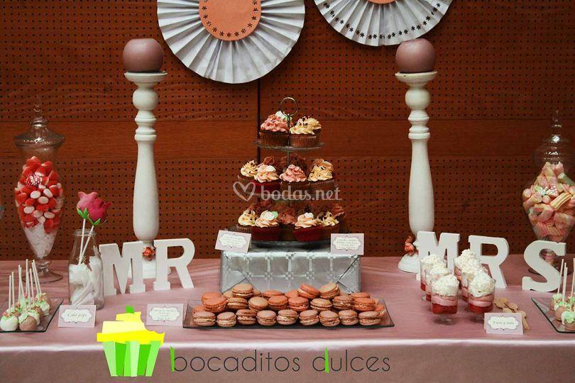 Mesa dulce boda romantica