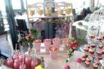 Mesa vintage blanco-rosa