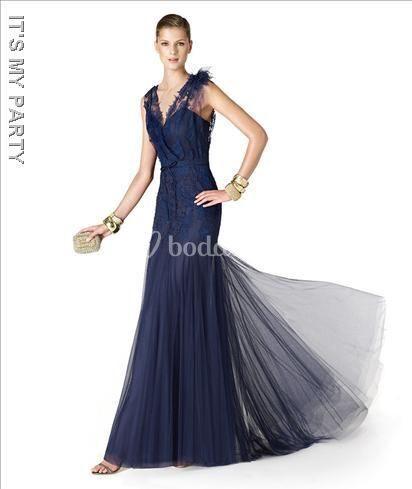 Fiesta De Noche Sirena Azul Vestido Color Corte HvqxwA6Z