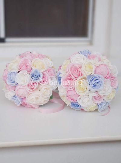 Ramo romántico en rosa y azul