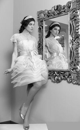 Vestido de novia con falda corta