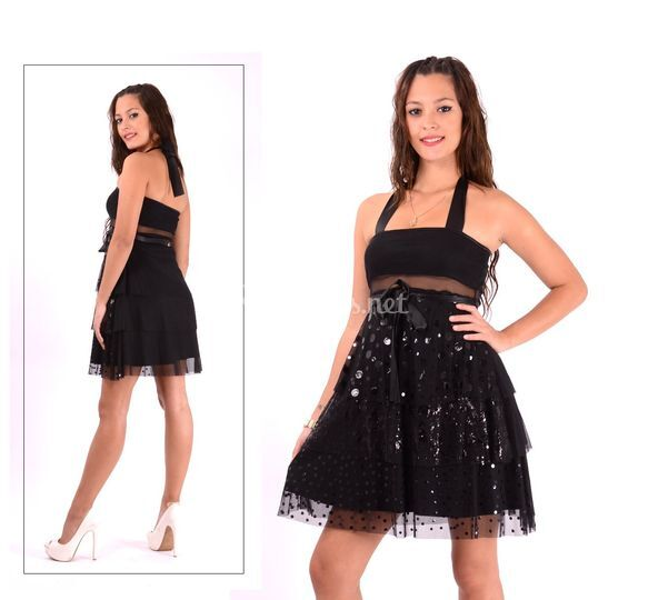 Vestido coro negro de lentejuelas