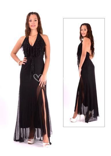 Vestido de gasa falda pedrería