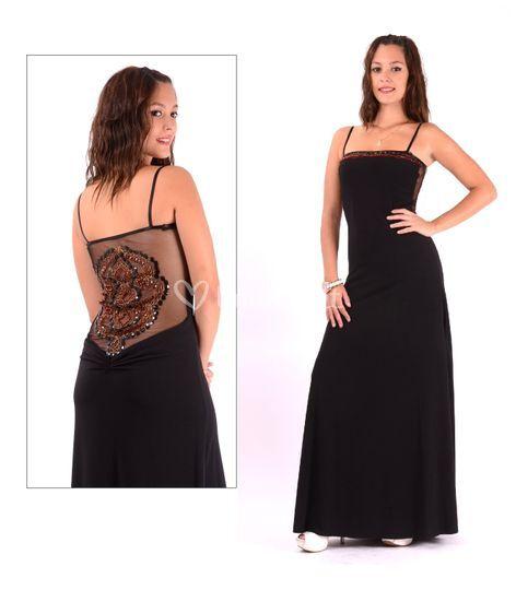 Vestido largo espalda pedreria