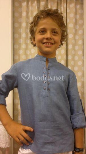 Camisa lino cuello mao