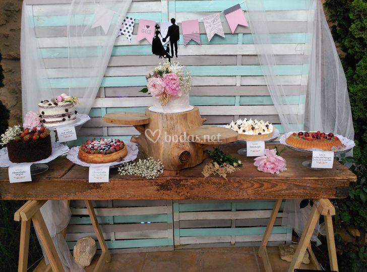 Mesa dulce de tartas