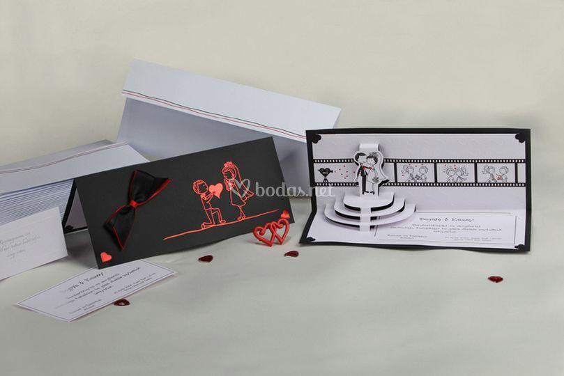 Invitación de boda con relieve
