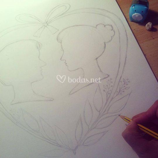 Ilustración de los novios