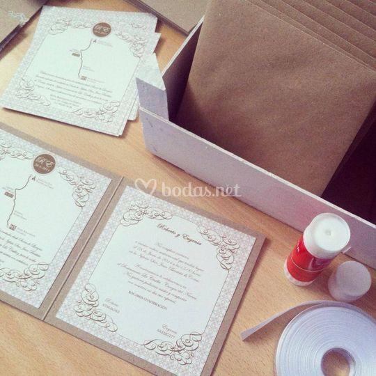 Invitación handmade de boda