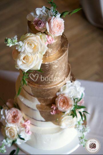 Gold Semi Naked Wedding Cake