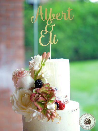 Cream Wedding cake A+E