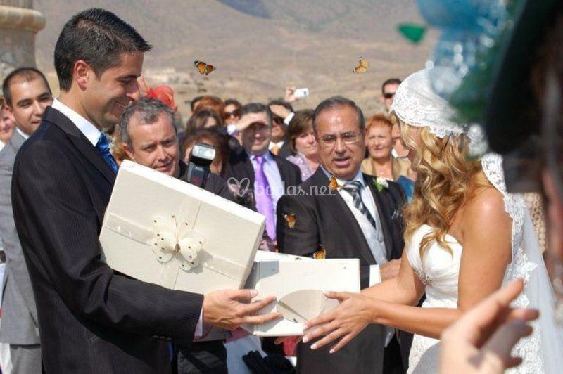 Mariposas en boda civil