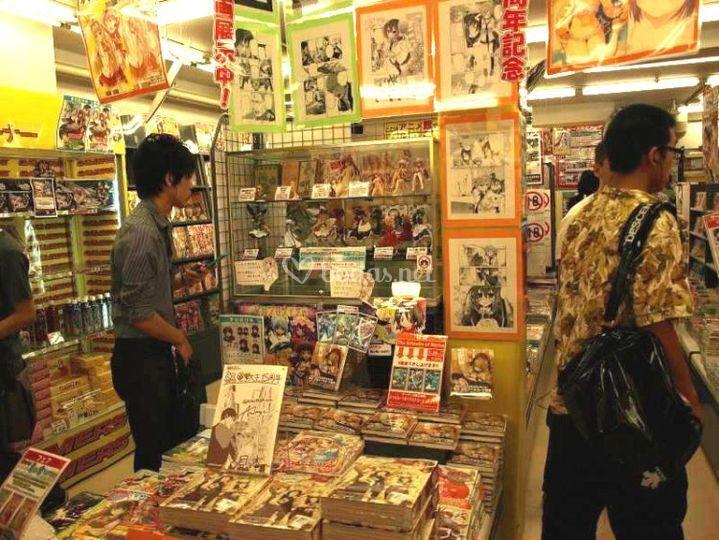 Interior de tienda de manga anime