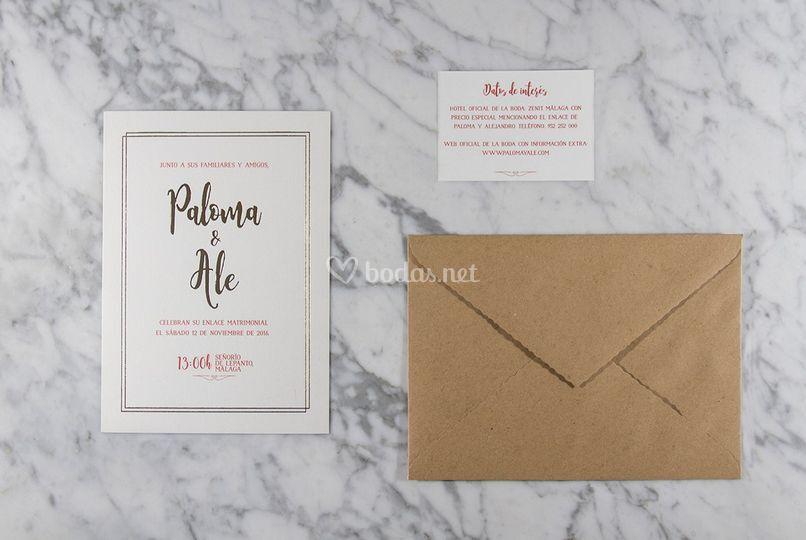 Invitación con detalle en oro