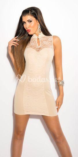Mini vestido beige