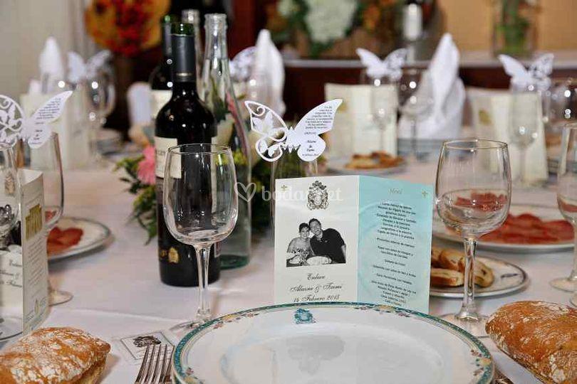 Detalle de la mesa de la boda