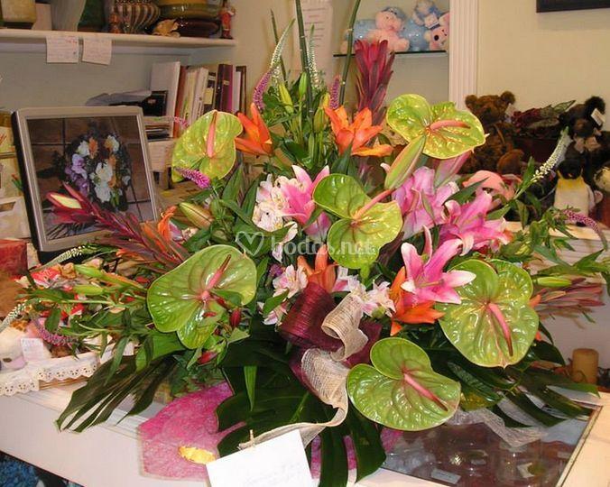 Centro de flores exóticas