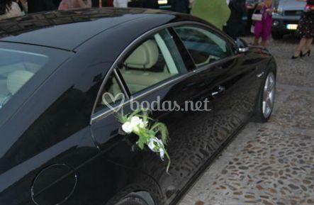 Decoración del coche de la novia