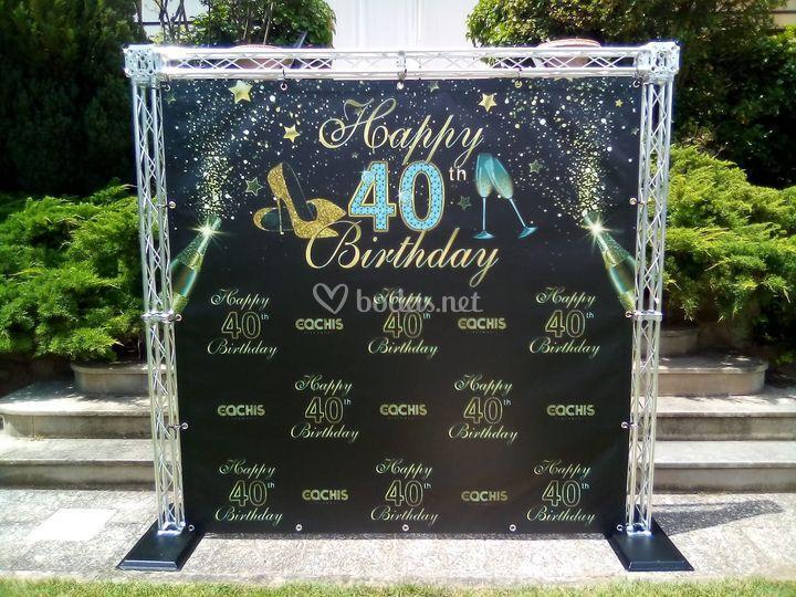Estructura de photocall para 40 cumpleaños