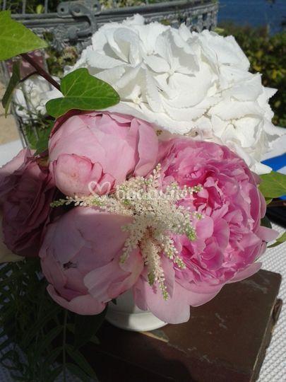 Peonias y hortensia