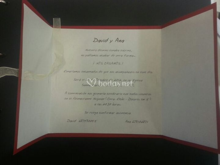 Invitación boda interior