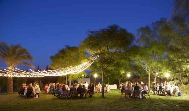 Banquete nocturno en jardín