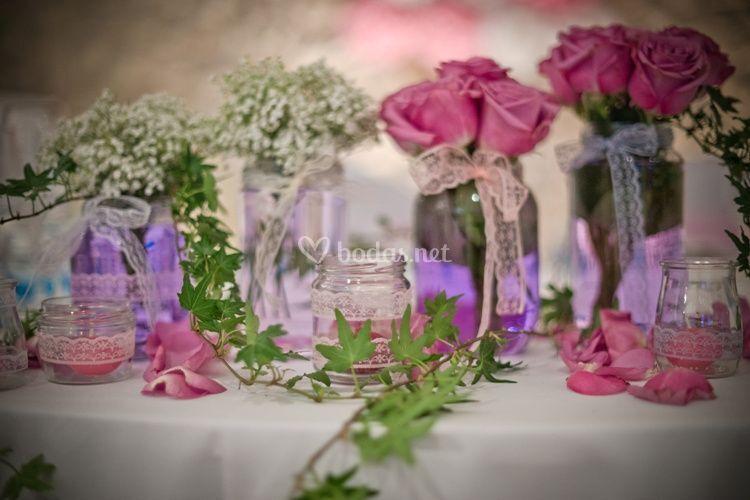 Decoración de mesas de Bodas con Love