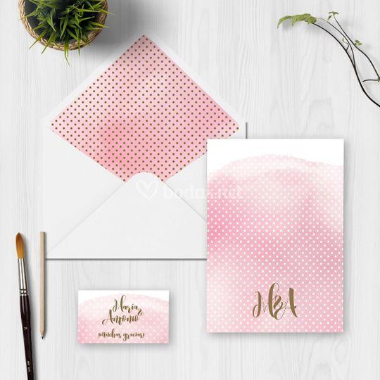Invitación Sweet Pink trasera
