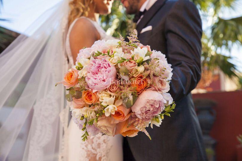 Ramo de novia romantico