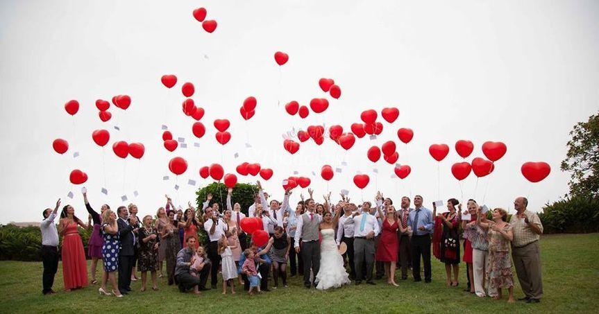 Suelta de globos en boda