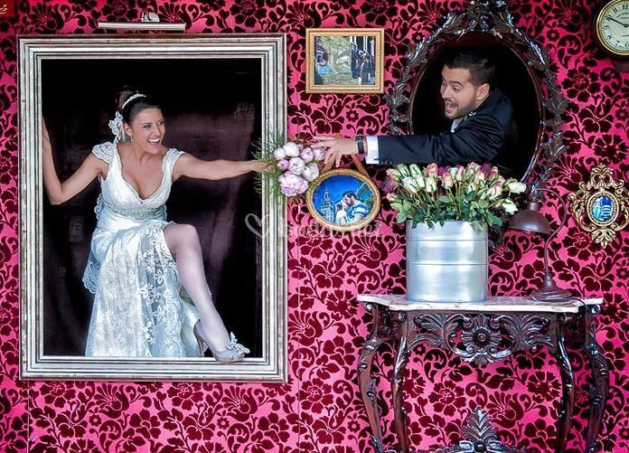 foto de los recin casados photocall vintage