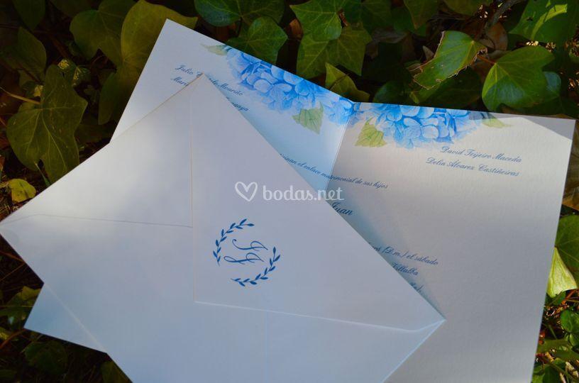Invitación hortensias azules