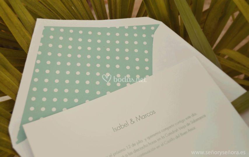 Invitación de boda Topos