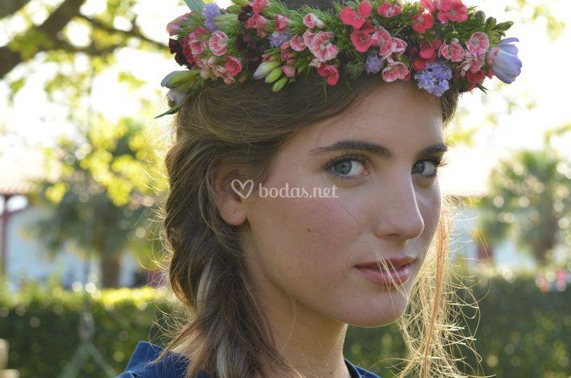 Corona de flores clavelina